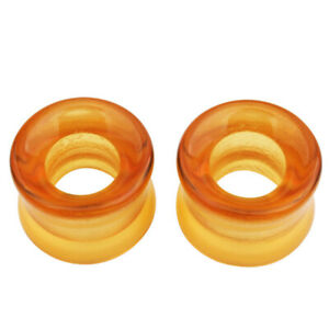 1 Pair Hollow Glass Double Flared Saddle Flesh Tunnel Ear Plug Gauge Stretcher