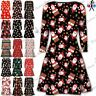 Womens Christmas Swing Dress Ladies Xmas Santa Gifts Snowman Skater Mini Dress