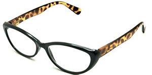 Betsey Johnson Black/Tortoise Cat Eye Oval Reading Eyeglasses Frame 2.00 2K
