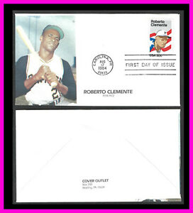 """ROBERTO CLEMENTE: """"COVER OUTLET"""" cachet first day cover"""