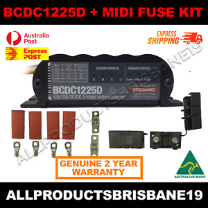 REDARC BCDC1225D 25A 3 Stage Auto Battery Vehicle Charger + Midi Fuse Kit!