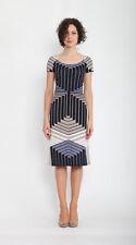 Sommer Jersey-Kleid LISSA in blau-beige-weiß-schwarz Gr.38