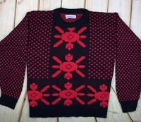 Vintage Womens Acrylic Knit Sweater Black Red Geometric Christmas USA Pullover