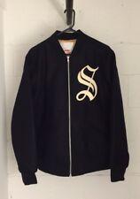 Supreme Old English Zip Up Varsity Wool Jacket Black And Gold Supreme S Logo
