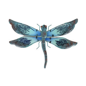 Metal & Glass Dragonfly Wall Decor hanging sculpture for patio, porch