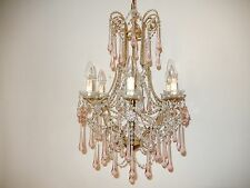 ~ c 1920 RARE French Beaded Pink Drops & Flowers Chandelier Vintage!~