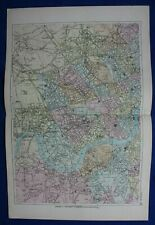 WEST LONDON, original antique atlas map / city plan, George Bacon, 1895