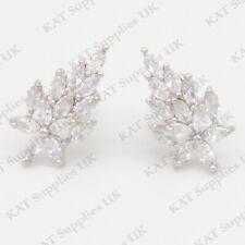 CLIP ON Earrings Crystal Silver Rhinestone Fake Studs Non Pierced Ear Round #50