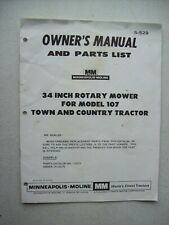 Original Minneapolis Moline 34 Mower For 107 Tractor Owners Manual Parts List