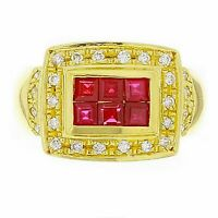 14k Yellow Gold 0.28ctw Ruby & Diamond Rectangle Ring Size 6.5
