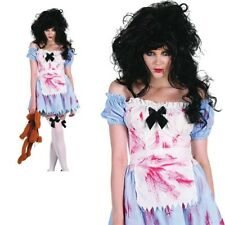 Zombie Alice Girl Costume Halloween Horror Fancy Dress Outfit Womens New
