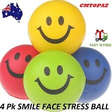 4 HAPPY SMILE FACE Bouncy Relaxable Squeeze Ball Stress Pain Relief Anxiety Toys