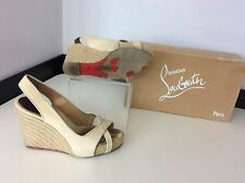 Christian Louboutin Piluca Wedges, Uk 4 Eu37 Slingback, Peep Toe, Beige Canvas