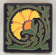 4x4 Arts & Crafts Carnation Tile in Bright Yellow by Arts & Craftsman Tileworks