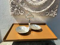 Tablett matt Bronze lasiert Metall KerzenTeller Menage Platte 36,5 x 30,5x1,5 cm