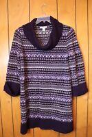 Style & Co Women's Cowl Neck Purple Patterned  Striped Tunic Sweater Dress Large