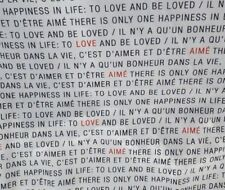 Love & Happiness - English/French Words - Beautiful for Blouses, Dresses, etc