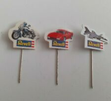 3 Revell Stick Pin Badges Motorbike, Car Fighter Jet