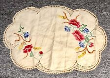Antique Society Oval Table Cover Embroidered Linen Poppies Morning Glories Doily