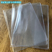 PVC Exercise Book Covers, Plastic Protection A5 Exercise Books, Pack Of 3 Covers