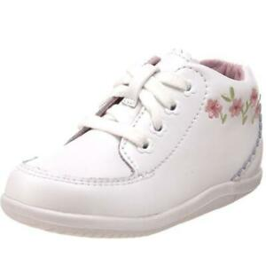 Stride Rite Emilia White Infant Girls Leather Booties Shoes 6 BHFO 5747