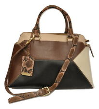 IACUCCI Genuine Leather Colorblock Satchel Bag Handbag Cream/Brown/Black Nwt