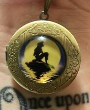 Mermaid Locket, Round Pendant Necklace. Bronze Gold.