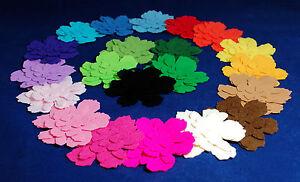Die Cut Felt Flowers & Leaves  Single Colour Packs Embellishments Pink White Red