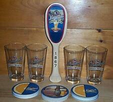 LEINENKUGELS SUNSET WHEAT TAP HANDLE & 4 BEER PINT GLASSES 30 COASTERS NEW