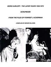 BORIS KARLOFF 1938-1975 MOVIE TV SCRAPBOOK ACKERMAN CLIPPINGS FRANKENSTEIN HORRO