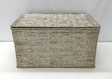 NEW IN BOX Pottery Barn KIDS Silver Rope Lidded Toy Chest Storage Basket Bin