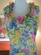 VTG 1960S Mod Boho Italian RUFFLE FLORAL MAXI DRESS LUIGI OF NAPLES 6-8