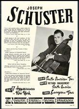 1948 Joseph Schuster photo cello recital tour booking trade print ad