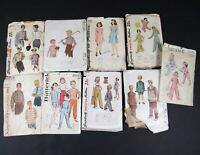 Vintage Lot 9 Sewing Patterns Kids Childrens Clothing 40s 50s Simplicity McCalls