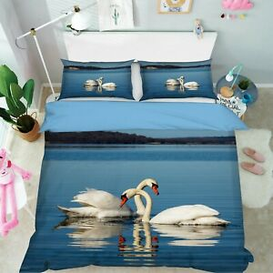 3D Swan I101 Animal Bed Pillowcases Quilt Duvet Cover Queen King Angelia