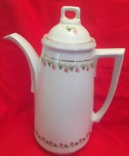 Vintage Moss Rose China Chocolate Pot/Coffeepot Hand Painted Gold Trim  Marked