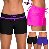 Womens Ladies Swim Pool Shorts Swimming Bikini Bottoms Boy Style Swimwear Shorts