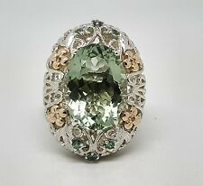 Vintage Art Deco 14K Gold & Sterling Silver Green Amethyst Diamond Ring Size 10