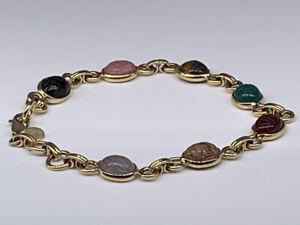 """Vintage """"Carla"""" 14k Gold Multi-color Hard stone Scarab Bracelet 7"""""""