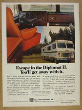 1975 Executive Diplomat II Motorhome RV color photo vintage print Ad