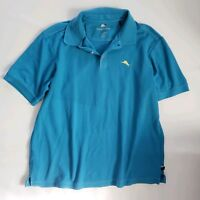 Tommy Bahama Mens Xl Blue Short Sleeve Pima Cotton  Henley Shirt