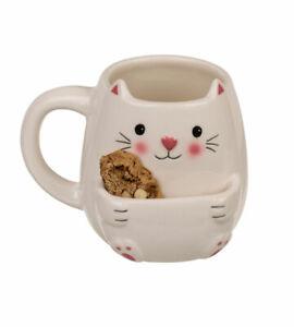 Katze Becher mit Keksfach Trinkbecher Coffee Tee Kaffee Milch Tasse