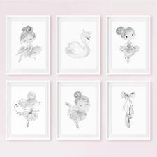Grey Ballerina Nursery Prints Childrens Girls Bedroom Wall Art Pictures Decor