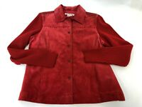 Womens AMI Red Suede Leather Knit Long Sleeve Button Down Light Jacket Size L