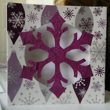 handmade SNOWFLAKE cut out GREETING CARD christmas greetings HANDMADE purples