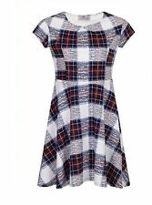 Scoop Neck Party Checked Skater Dresses for Women