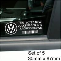 5 x Volkswagen GPS Tracking Device Security Stickers-Polo,Golf-Car Alarm Tracker