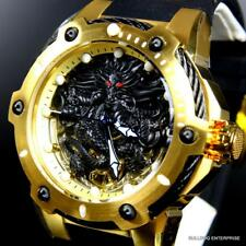 Invicta Bolt Black Dragon 18kt Gold Plated Mechanical Silicone 52mm Watch New
