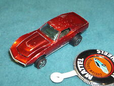 HOT WHEELS REDLINE mattel 1967 CUSTOM CORVETTE  U.S.A.  HONG KONG BUTTON