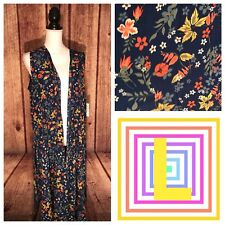 LuLaRoe L Joy Duster Long Vest Floral Blue Background Unicorn Polyester Large